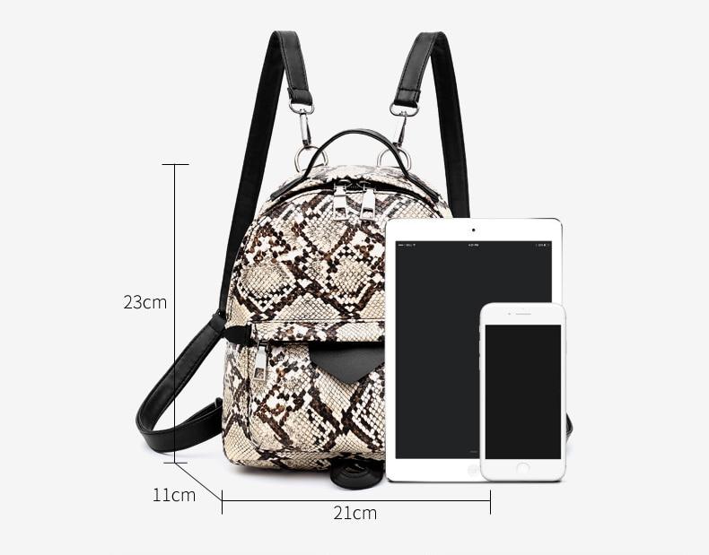 Women's Animal Print Eco-Leather Backpack