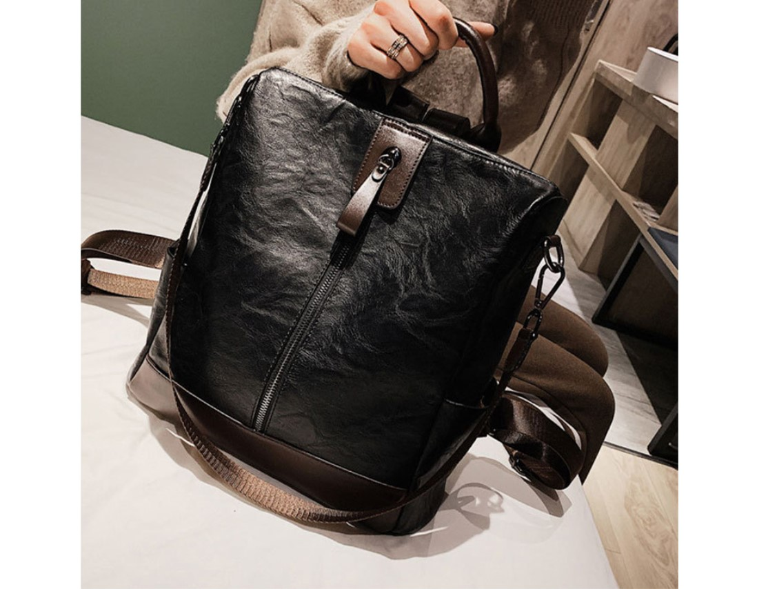Women's Middle Zipper Eco-Leather Backpack