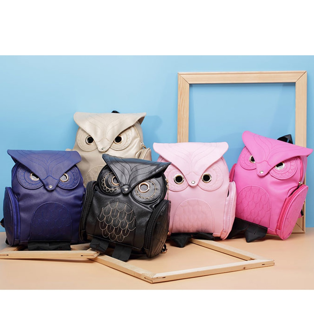 Fashion Owl Printed Women's PU Leather Backpack