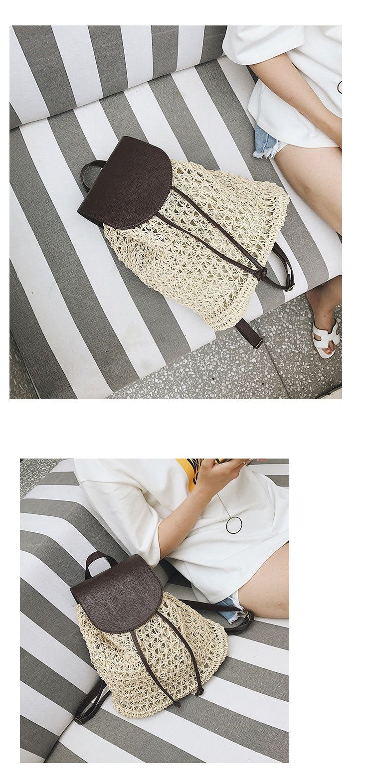 Women's Woven Rattan Backpack