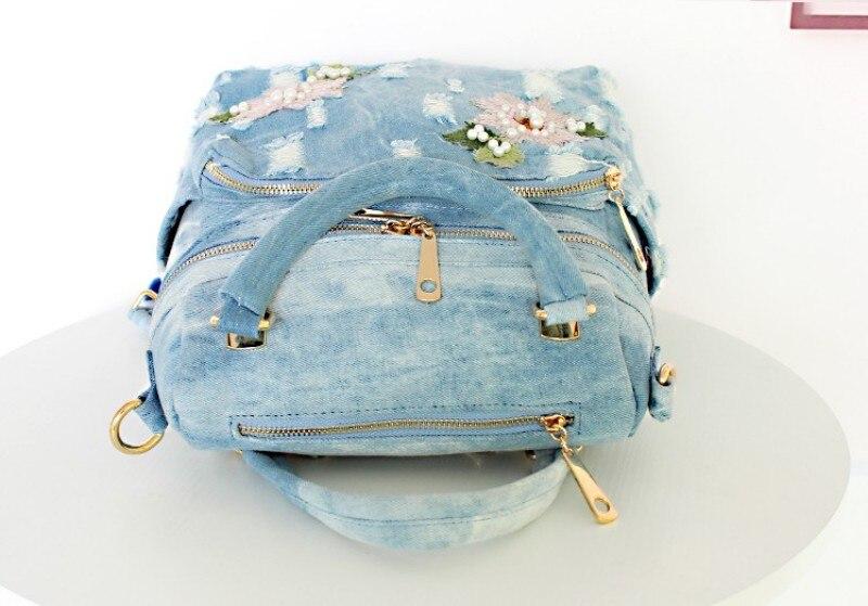 Women's Denim Floral Backpack