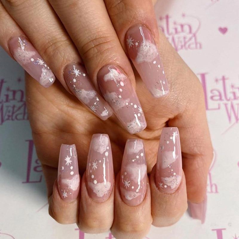 Pink Cloud medium length Press-on Nails 24 Pcs Set