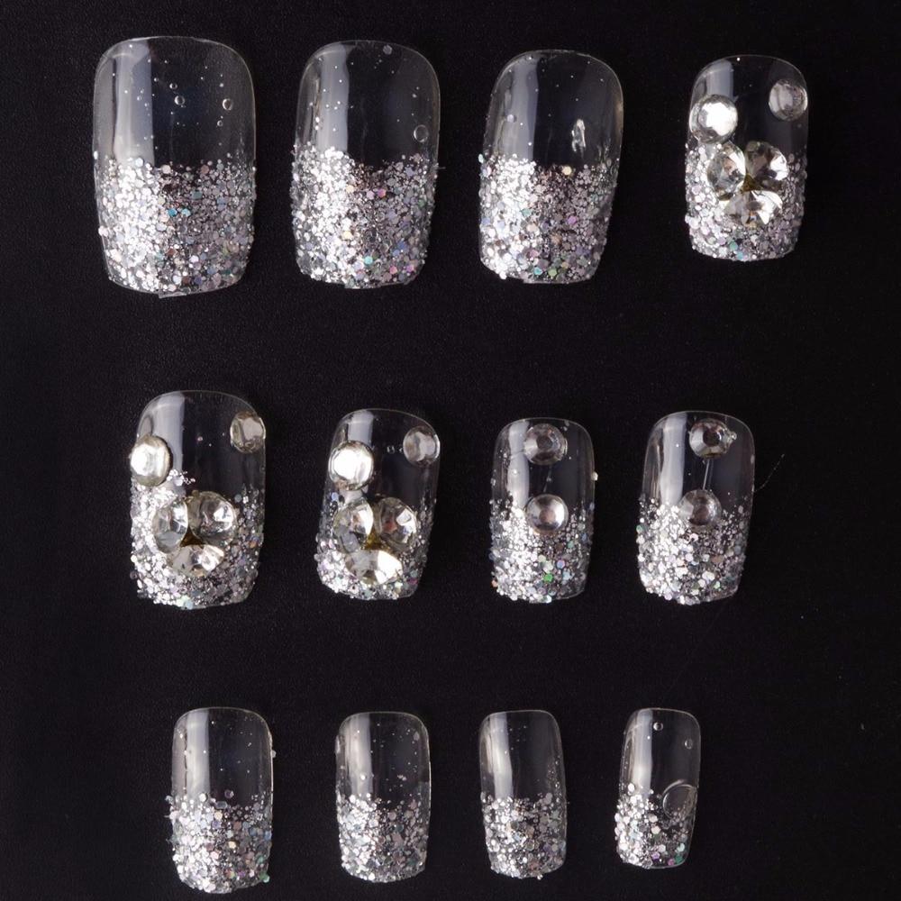 Crystal Snowflakes False Nails 24 Pcs