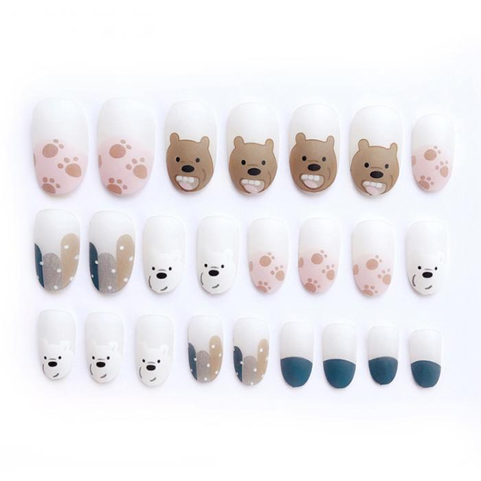 animated Bear Press-on Nails 24 Pcs Set