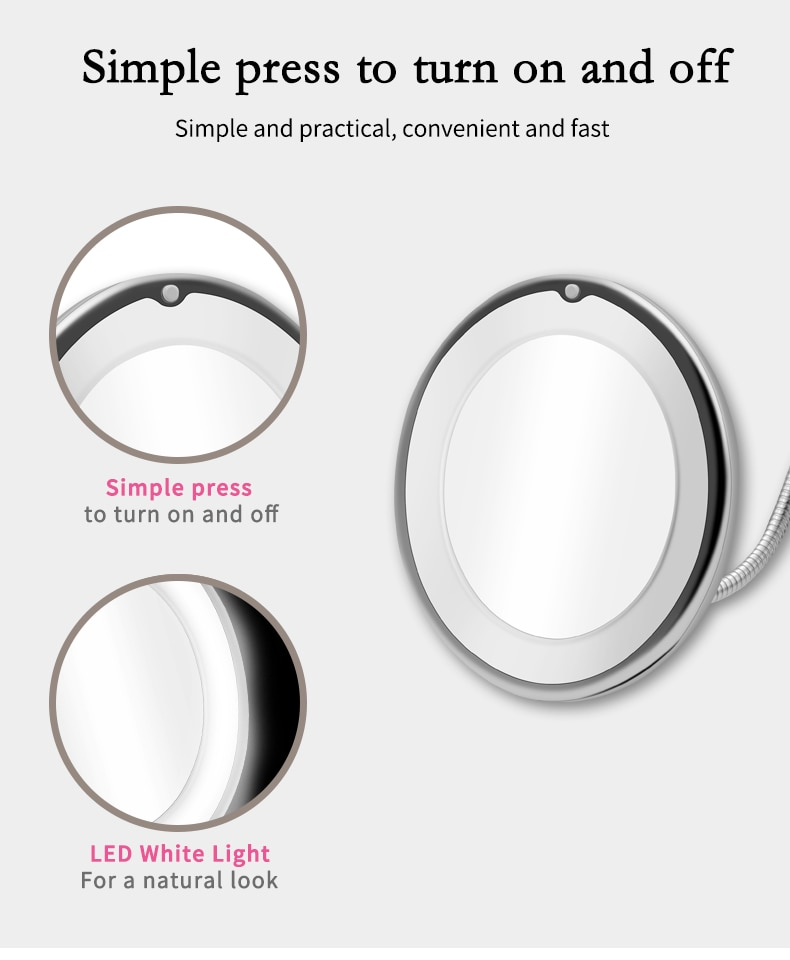 Flexible LED Magnifying Makeup Mirror