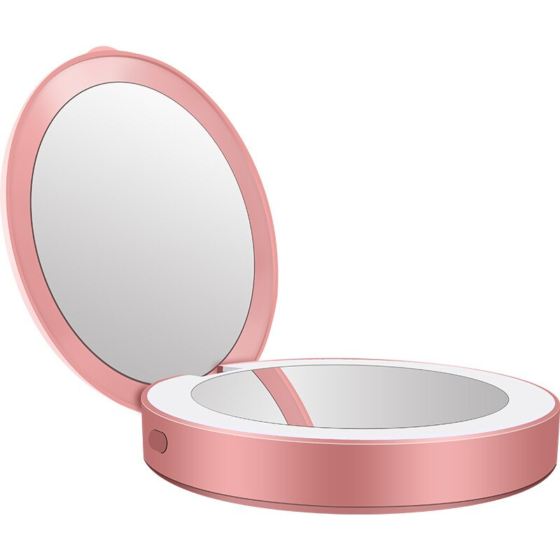 Portable Round Makeup Mirror with LED Light and Powerbank