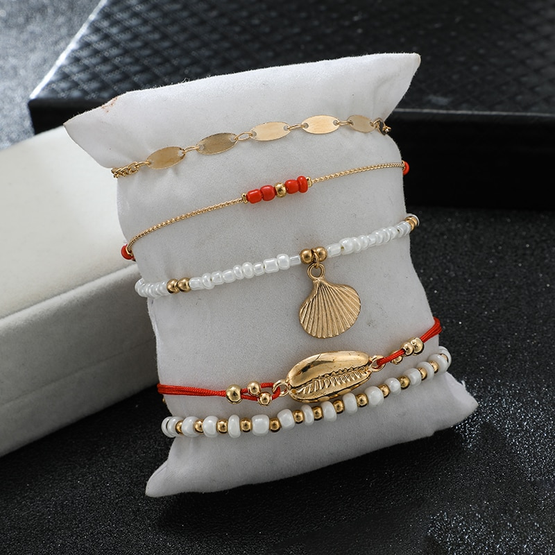 Multi Layer Anklet Set for Women