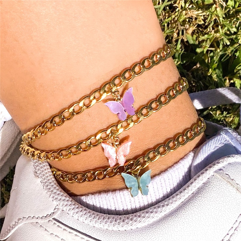 Cute Butterfly Pendant Anklets
