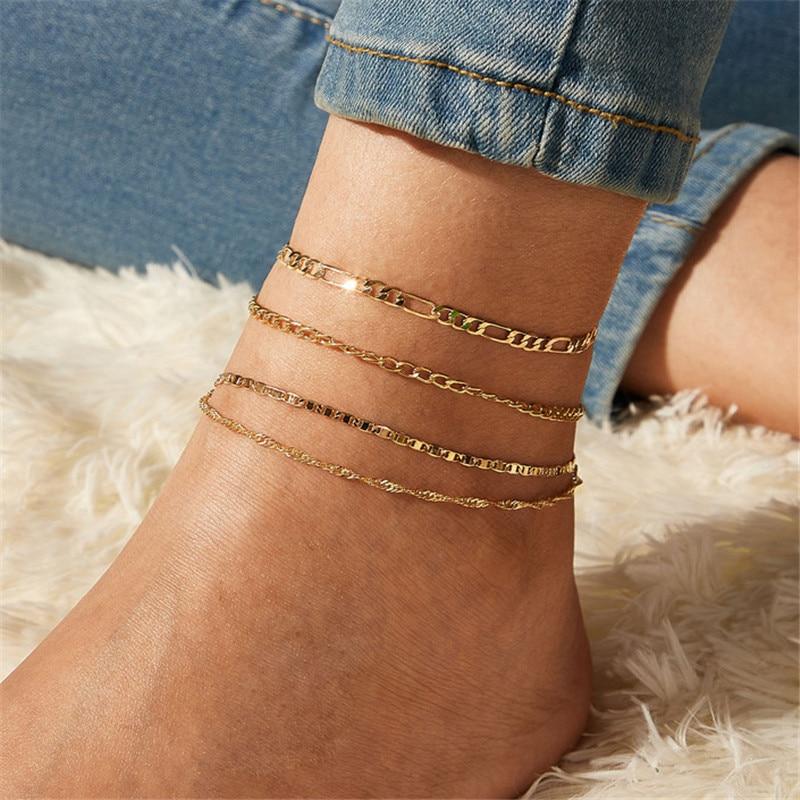 Fashion Gold Color Anklets Set