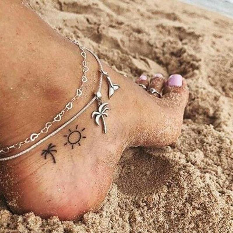 Double Layer Coconut Tree Ankle Bracelet