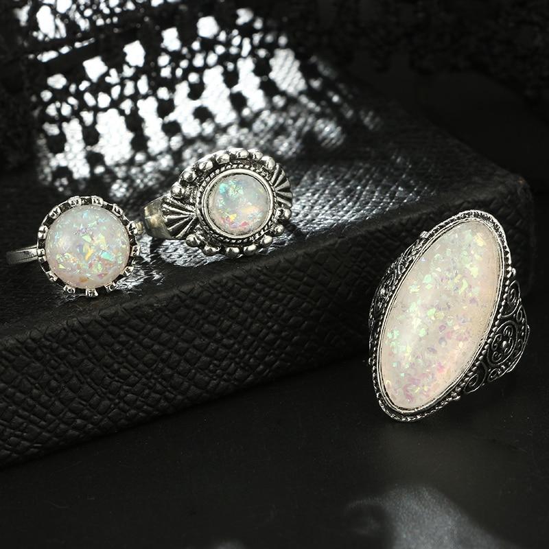 Vintage Antique Silver Ring Set 8 Pcs