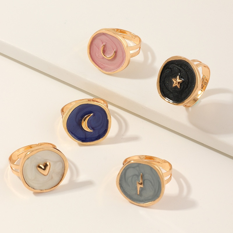 Moon Themed Adjustable Ring