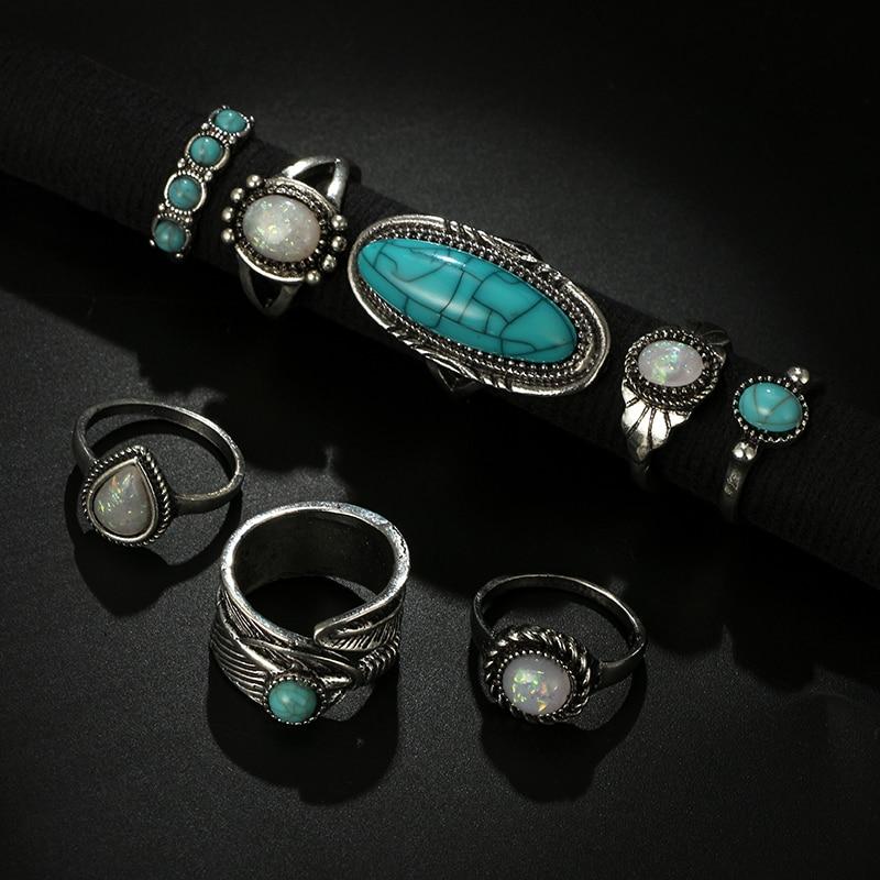 Women's Vintage Ring with Stone 8 pcs Set